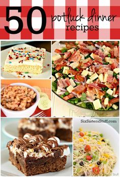 50 Potluck Dinner Recipes from Six Sisters' Stuff Best Potluck Dishes, Main Dish For Potluck, Potluck Dinner Party, Potluck Recipes, Supper Recipes, Dinner Dishes, Cooking Recipes, Potluck Ideas, Crowd Recipes
