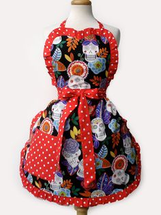 apron - festive dia de los muertos skulls and flowers - $35  - click on the photo for a direct link - http://goreydetails.net/shop/index.php?main_page=product_info=38_207_id=2259