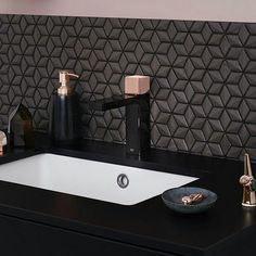 #deluciatilecompany #black #threedimensional #cubes #fashion #tileinspiration #rosegoldtaps #rosegold #instatile #ontrend #simple #tile #tiles #splashback by deluciatile_company