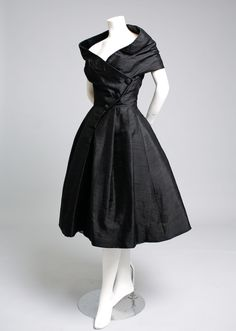 Vintage Christian Dior Paris Haute Couture Little Black Dress - Robe du Soir Courte 1950's 1955