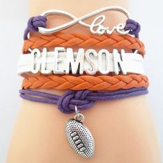 Infinity Love Clemson Football Bracelet BOGO