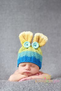 An awesome take on a bunny hat-- and a bit more masculine than pink and white ears.