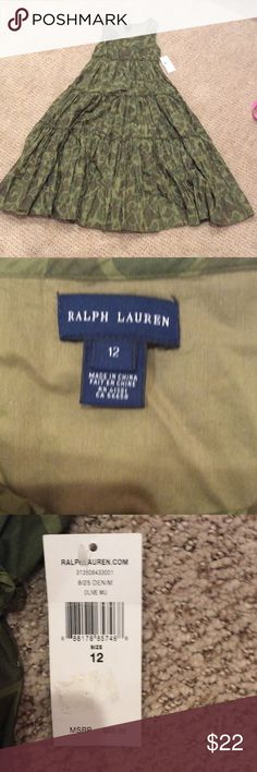 Army colored Ralph Lauren long dress. NOT USED!! Really beautiful long army printed dress with three buttons. RALPH LAUREN DENIM Ralph Lauren Dresses High Low