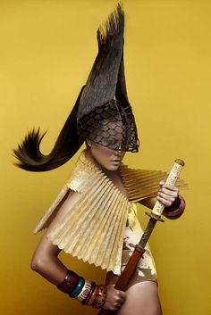 Inspired by Warrior Women of different cultures. Hair | Coiffure: Felicitas Ordas & Felicitas Hair Makeup | Maquillaje: Trini F. Silva Styling | Stylisme: Eunnis Mesa Photo: David Arnal  #Hairbrained #SimplyWow