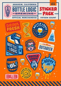 Sticker pack for Bottle Logic Brewing — custom fun stickers to match the theme Badge Design, Icon Design, Logo Design, Graphic Design Typography, Graphic Design Illustration, Branding, Badges, Retro, Tampons