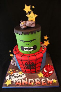 Spiderman and Hulk Birthday Cake!!