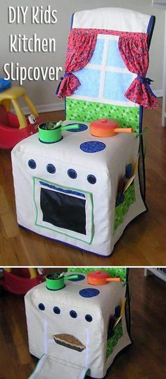 Sewing For Kids Chair Cover Play Kitchen Free Pattern Video Tutorial - You are going to love this Chair Cover Play Kitchen. This is an incredibly simple project and it will provide hours of fun for your little one! Diy Kids Kitchen, Kitchen Sets For Kids, Sewing For Kids, Free Sewing, Diy For Kids, Kitchen Chair Covers, Kitchen Chairs, Kitchen Stove, Dining Chairs