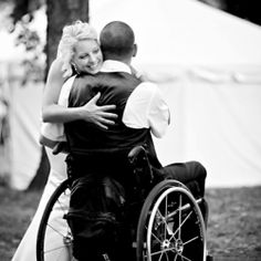 A first look moment between a bride and her groom who was recently paralyzed in an accident and confined to a wheelchair. #truelove