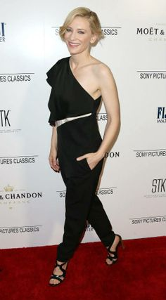 Cate Blanchett wearing our Autumn '14 one-shoulder jumpsuit at the Sony Pictures Classics' 2014 Oscar Dinner in Los Angeles