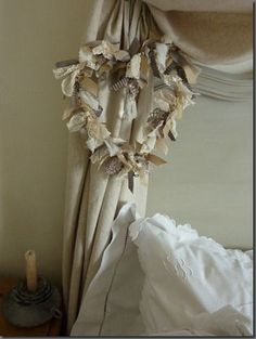 love this fabric and lace heart wreath!