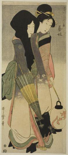 Kitagawa Utamaro A Geisha and Her Maid   The Art Institute of Chicago