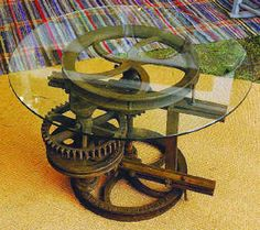 Table from repurposed gears recovered from an old factory