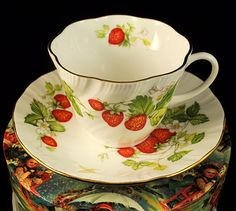 Rosina Fine Bone China Strawberry Teacup and Saucer