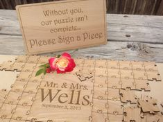 Wedding Heart Puzzle for Wedding Guest Book (Custom Puzzle w/ Heart Tabs)