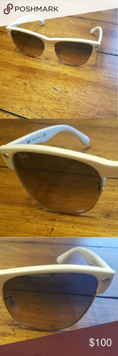 White Ray-bans & Case Gorgeous White Ray Bans. Gently worn - no flaws. Included is the Ray Ban sunglasses case. Ray-Ban Accessories Sunglasses
