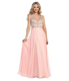 Pink Vintage style 1920s Style Prom Dress -  Blush & Nude Beaded Open Back Chiffon Gown 2015 Prom Dresses