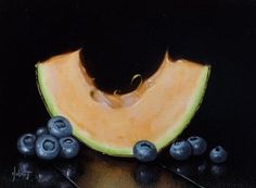"""Cantaloupe And Blueberries"" - Original Fine Art for Sale - © Clinton Hobart"