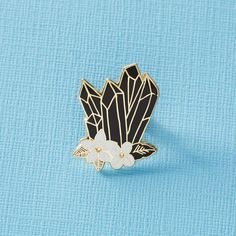 okaywowcool: black crystal enamel pin