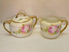 Antique Royal Rudolstadt Prussia hand painted creamer & sugar bowl ~ chic not shabby!