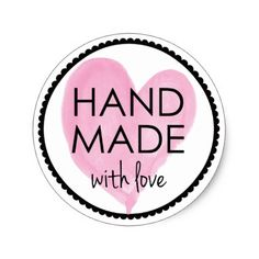 Pink Heart Handmade with Love Classic Round Sticker - pink gifts style ideas cyo unique Bakery Logo Design, Branding Design, Brand Identity Design, Corporate Branding, Printable Stickers, Custom Stickers, Hd Wallpapers For Pc, Small Business Quotes, Love Label