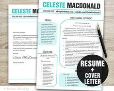 Teal Aqua Design Resume Template  Cover Letter by BusinessBranding