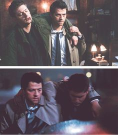 This is why I think they make great friends. Now if only Cas and Sam could start bonding more, I'd be completely satisfied. Supernatural Tv Show, Supernatural Seasons, Misha Collins, Jensen Ackles, Park Yoo Chun, Jo In Sung, Dean And Castiel, Superwholock, Movies Showing