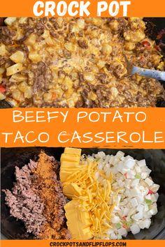 Crock Pot Beefy Potato Taco Casserole Crock Pot Tacos, Crock Pot Slow Cooker, Crock Pot Cooking, Slow Cooker Recipes, Crockpot Recipes, Cooking Recipes, Crockpot Dishes, Beef Dishes, Velveeta Recipes