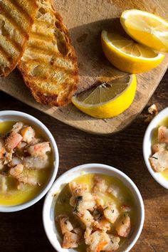 Diced shrimp are aggressively seasoned with anchovy, celery seed, lemon zest and garlic before being sealed into ramekins. Potted shrimp is a very rich dish, best served in small quantities with hot toast on the side to melt the solidified butter back into a creamy sauce. (Photo: Andrew Scrivani for The New York Times)