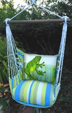 Visit Bella Coastal Decor today and shop our remarkable collection of beach style furniture, for instance this Crab Beach Boulevard Stripe Swing Set! Backyard Hammock, Hammock Swing Chair, Swinging Chair, Hammocks, Preschool Garden, Frog Crafts, Frog Art, Cute Frogs, Frog And Toad