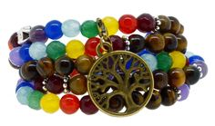 Seven Chakra Meditation Healing Simulated Tiger Eye Mala Wrap Bracelet Necklace (Brass Tree of Life). Seven Chakra Wrap Bracelet or Necklace Made from Simulated Tiger Eye and Accent Beads with Seven Colors;. Bead Size: 6mm; Length: 26 Inches;. Elastic String: One Size Fits All;. Handmade Tiger Eye Wrap Bracelet or Necklace;. Unique Yoga and Meditation Inspired Charms;.