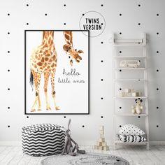 TWINS Hello Little One Giraffe Print - Custom Options Available