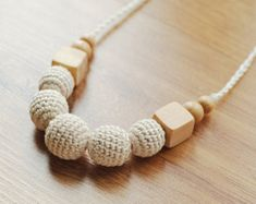 Floral Nursing necklace Crochet Flower Pendant Wooden | Etsy