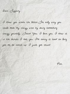 Silver Linings Playbook.  The love letter Pat wrote to Tiffany.