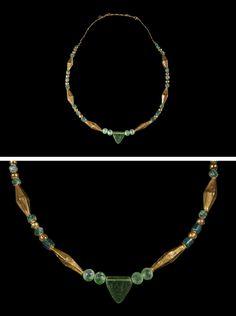 Roman Green Glass Necklace with 22K Gold Inserts,CIVILIZATION Roman, 100 C.E. - 400 C.E.