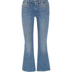 M.i.h Jeans Marrakech cropped mid-rise flared jeans (€250) ❤ liked on Polyvore featuring jeans, pants, bottoms, button-fly jeans, super stretch jeans, flared cropped jeans, mid rise jeans and stretchy jeans