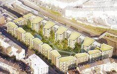 Düsseldorf: 350 weitere Wohnungen im Quartier Central: Der Siegerentwurf sieht eine sechsstöckige Blockrandbebauung vor. Foto: Stadt Düsseldorf