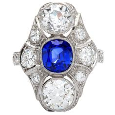 $44,000. Art Deco Kashmir No Heat Sapphire 1.66 Carat and Diamond Ring | From a unique collection of vintage engagement rings at https://www.1stdibs.com/jewelry/rings/engagement-rings/