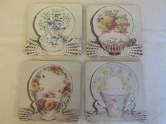 Coaster / Fridge Magnets - Pictures of Vintage English bone china cup & saucer sets