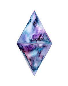 Purple Diamond Geometric Art Print.  Wall Art.  by SnoogsAndWilde