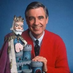 OH! How I miss Mister Rogers!  {It's shows like this that I want/need on DVD when I have kids because kid shows nowadays are freaken wired & my children will not be allowed to watch today's kid shows!} <--- Not even new Sesame Street, it's like the other new wired shit nowadays. I'll need old school Sesame Street on DVD too.