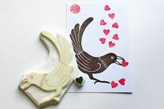 bird and love heart rubber stamp set. woodland von talktothesun