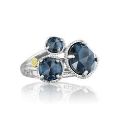 Silver 3 Stone London Blue Topaz Ring - SR13733– Renee Taylor Gallery
