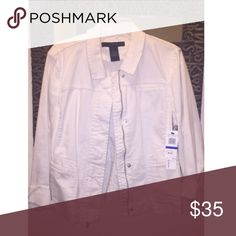Women's White denim jacket Never worn!! In perfect condition. Tags still on! Calvin Klein jean jacket. Sides have stretchy sweater material. Very comfy. A little thicker for the fall/spring months. Calvin Klein Jackets & Coats Jean Jackets