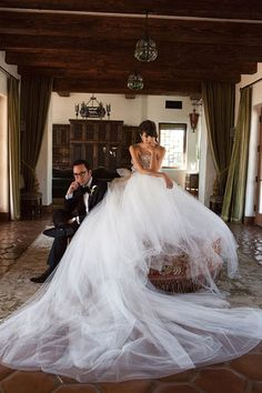 marchesa wedding gown - I'm repining this because I THINK it would make a funny wedding photo ... a few wacky pics would be fun.