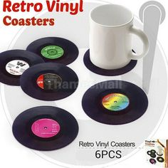 6Pcs Round Vintage Cd Coasters Record Cup Cushion Drink Vinyl Placemat Decor