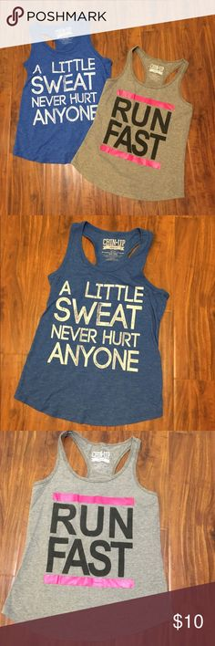 Two workout tanks Two cute workout tanks. Both EUC! Loose fitting cotton material. Cute and fun to wear! chin up apparel Tops Tank Tops