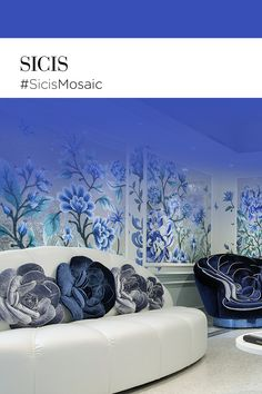 Blue, white, silver roses in precious mosaic tesserae and silk velvet decorate this romantic, fresh-looking hall in Paris. ‪#‎SicisMosaic‬