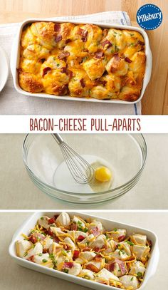 Wake up to a delicious Bacon-Cheese Pull-Aparts bake! Every bite is filled with the breakfast flavors of bacon, egg and Cheddar cheese. This easy breakfast recipe has only 6 ingredients and all are kitchen staples! As one of our highest rated recipes, you'll love how it comes together for your guests on the holidays.