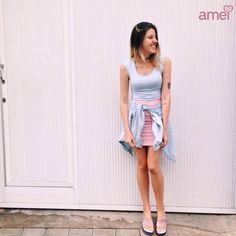 Fofuras chegando na @loja_amei 💕 #etiquetaamei #muitoamor #listras #novidades #saia #cropped #melissa