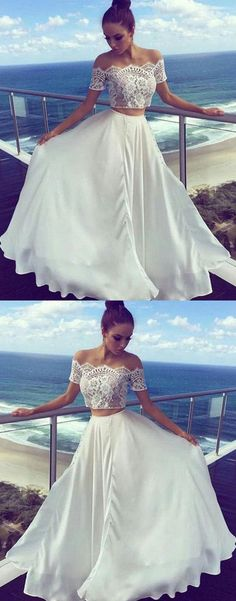 Simple Prom Dress,White Prom Dress,Two Piece Prom Dress,Lace Long Prom Dress,New Arrival Evening Dress